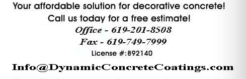Your affordable solution for decorative concrete! Call us today for a free estimate! 866-866-2978, 619-201-8508 License # C61892140